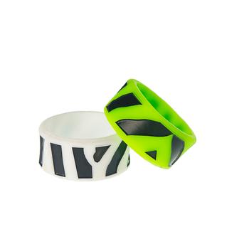 Силиконовое кольцо Zebra черный/зеленый