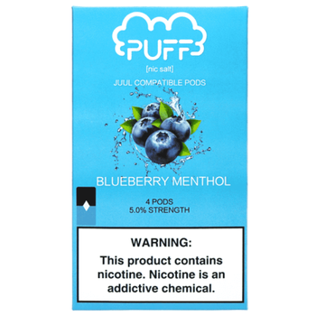 Сменный картридж Puff pods для JUUL Blueberry ICE 4шт 1мл 50мг