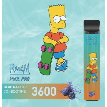 Набор RANDM MAX PRO 2% 3600 puffs (LED,microUSB) Blue Razz ice