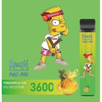 Набор RANDM MAX PRO 2% 3600 puffs (LED,microUSB) Pineapple ice